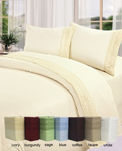 Coffee Cotton 450 Thread Count Embroidery Sheet Set Queen