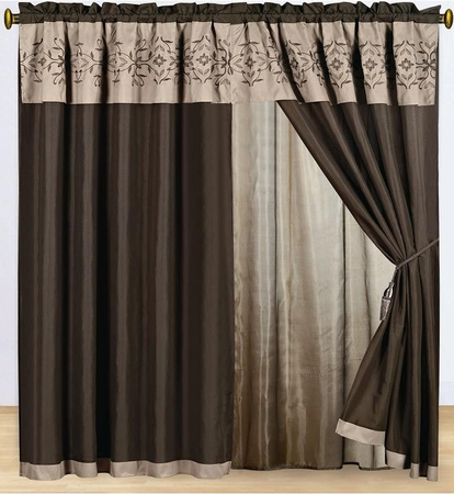Coffee Floral Embroidered Curtain Set w/ Valance/Sheer/Tassels