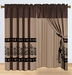 Coffee Medallion Embroidered Curtain Set w/ Valance/Sheer/Tassels