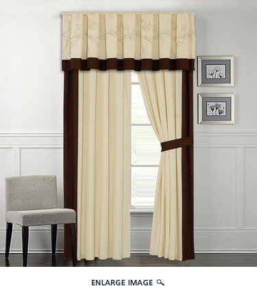 Coffeeville Coffee and Ivory Curtain Set