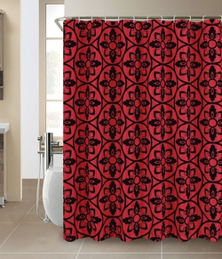 Colin Faux silk Flocking Shower Curtain Burgundy/Black