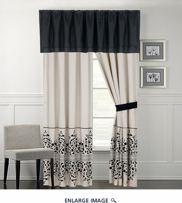 Corak Black and Ivory Curtain Set