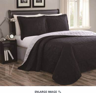 Cressida Black/Gray Reversible Bedspread/Quilt Set Queen