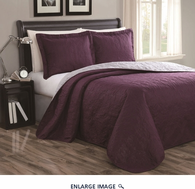 Cressida Plum/Gray Reversible Bedspread/Quilt Set King