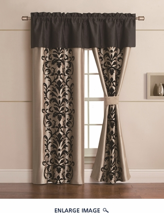 Dawson Black and Gold Curtain Set