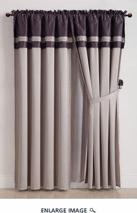 De bois Purple Embroidered Curtain Set w/ Tassels / Sheers