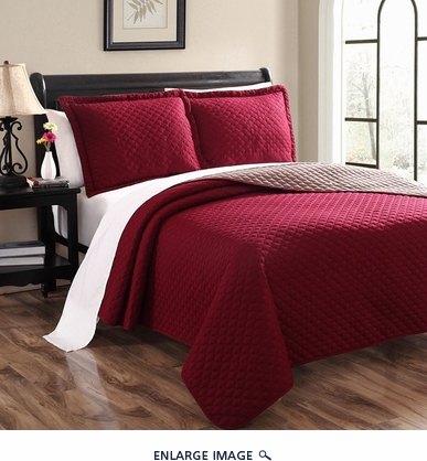 Demi Beet/Taupe Reversible Bedspread/Quilt Set King