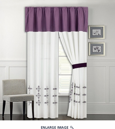 Ellis Purple and White Curtain Set