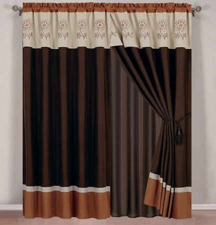 Elora Floral Orange and Ivory Curtain Set w/ Valance/Sheer/Tassels