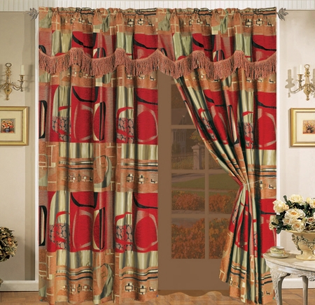 Firenze Chenille Curtain Set w/ Valance/Sheer/Tassels