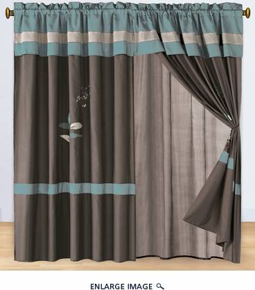 Floral Aqua and Coffee Embroidered Curtain Set w/ Valance/Sheer/Tassels