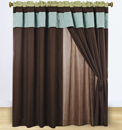Floral Blue/Sage/Coffee Embroidered Curtain Set w/ Valance/Sheer/Tassels