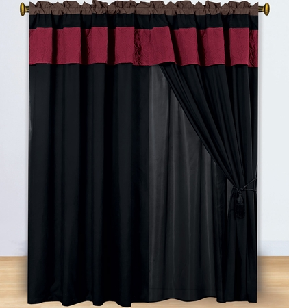 Floral Burgundy and Coffee Embroidered Curtain Set w/ Valance/Sheer/Tassels