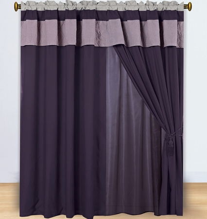 Floral Lavender and Plum Embroidered Curtain Set w/ Valance/Sheer/Tassels