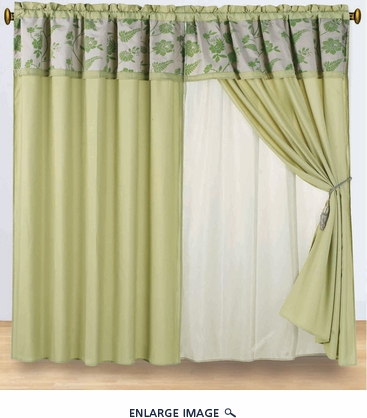 Floral Sage Floral Flocked Curtain Set w/ Valance/Sheer/Tassels