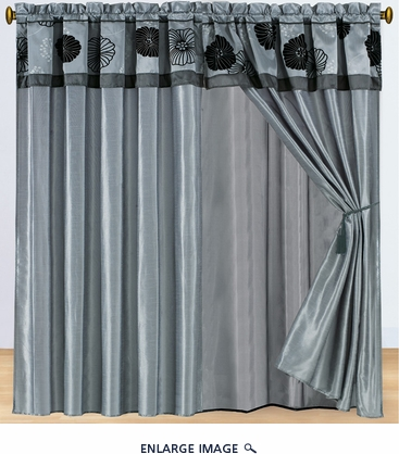 Floral Slate and Black Curtain Set w/ Valance/Sheer/Tassels