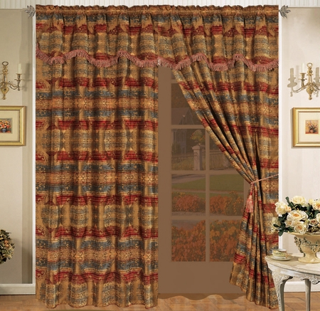 Florence Chenille Curtain Set w/ Valance/Sheer/Tassels