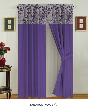 Fresca Purple and Gray Curtain Set w/ Valance/ Tiebacks / Sheers