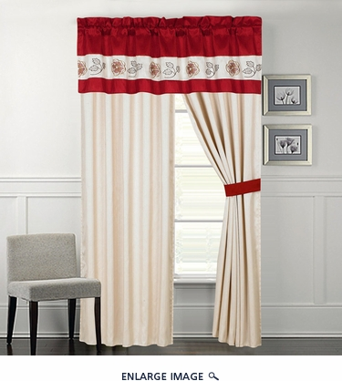 Freya Floral Embroidered Curtain Set