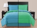 Full Blue/ Green Reversible Comforter Set
