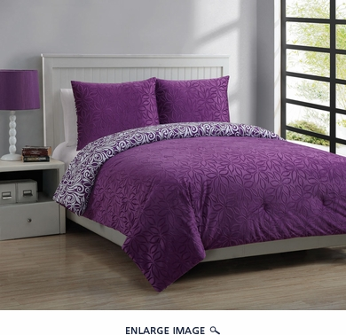 Full Forever Young Moire Comforter Set Plum/White