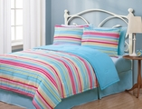 Full Geo Stripes Multi Reversible Comforter Set