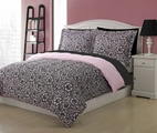 Full Microfiber Kids Jeanette Bedding Comforter Set Pink/Black
