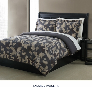 Full Microfiber Kids Optic Camouflage Bedding Comforter Set Taupe