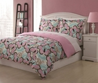 Full Microfiber Kids Paisley Butterfly Bedding Comforter Set Pink