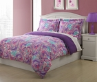 Full Microfiber Kids Paisley Butterfly Bedding Comforter Set Purple
