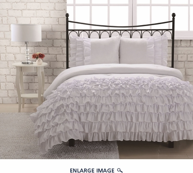 Full Miley Mini Ruffle Comforter Set White