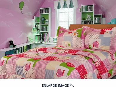 Full Pink College Bedding Comforter Set