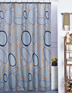 Geo Circle Shower Curtain with Ceramic Hooks and Liner