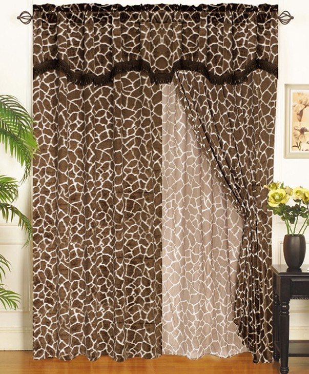 Giraffe Animal Kingdom Curtain Set W Valance Sheer Tassels