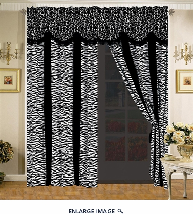 Giraffe/Zebra Black and White Micro Fur Curtain Set