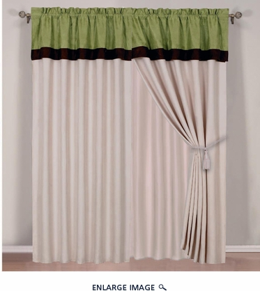 Green Micro Suede Curtain Set