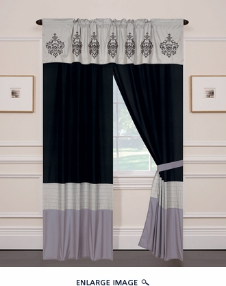 Herstal Black and Gray Black and Gray Curtain Set