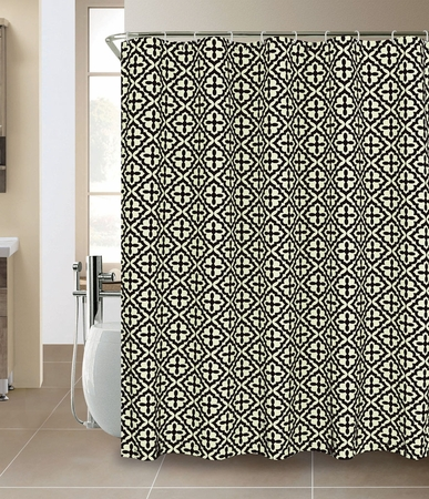 Hester Faux silk Flocking Shower Curtain Ivory/Black