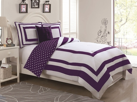 Piece twin hotel juvenile reversible polka dot comforter set purple