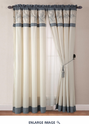 Jasmine Aqua Blue Curtain Set