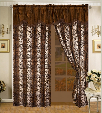 Leopard Micro Suede Curtain Set