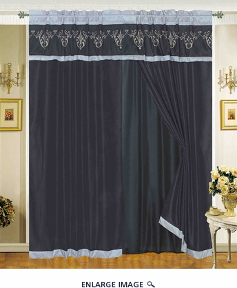 Letizia Black Embroidery Curtain Set
