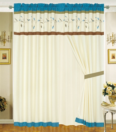 Lina Floral Embroidered Curtain Set