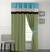 Linna Beige and Blue Curtain Set