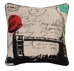 London Decorative Square Throw Pillow 18""
