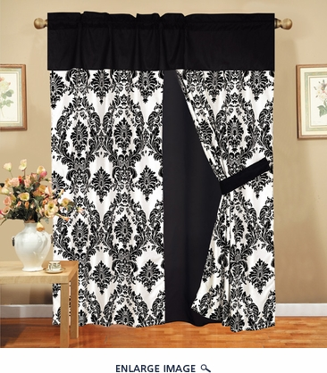 Louisa Black Flocking Curtain Set