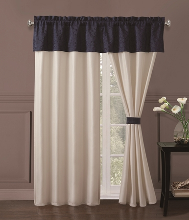 Luke Embroidered Curtain Set Navy/White