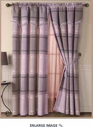 Madrid Purple Curtain Set w/ Valance/Sheer/Tassels