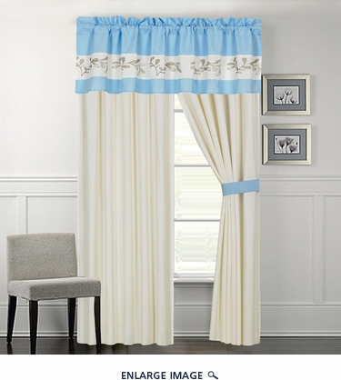 Maisie Blue Floral Embroidered Curtain Set