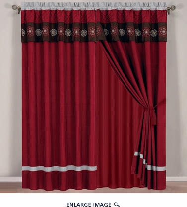 Marisa Floral Embroidered Curtain Set w/ Valance/Sheer/Tassels